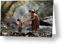 Mother And Son Are Happy With The Fish In The Natural Water Greeting Card