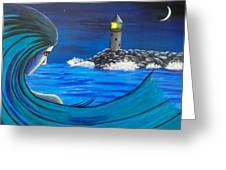 In The Glow Of The Lighthouse  Greeting Card
