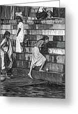 Mother Ganges - Paint Bw Greeting Card
