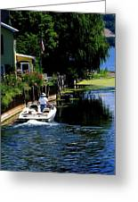 Motor Boat On Canal Greeting Card