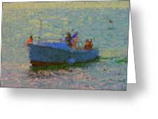 Motor Yacht At Spruce Point Boothbay Harbor Maine Greeting Card