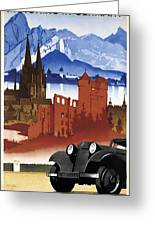 Motoring In Germany - Retro Travel Poster - Vintage Poster Greeting Card