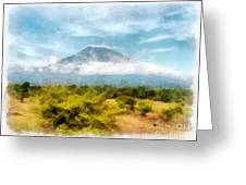 Mount Agung On The Island Paradise Of Bali Greeting Card
