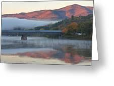 Mount Ascutney And Windsor Cornish Bridge Sunrise Fog Greeting Card by John Burk