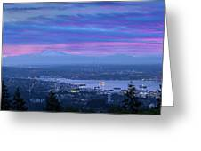 Mount Baker And Vancouver Bc At Dawn Greeting Card