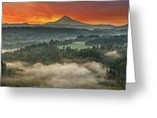 Mount Hood And Sandy River Valley Sunrise Greeting Card