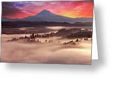 Mount Hood Foggy Sunrise Greeting Card