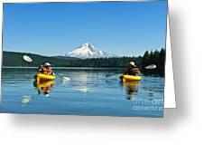 Mount Hood Kayakers Greeting Card