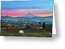 Mount Hood Over Hood River At Sunset Greeting Card
