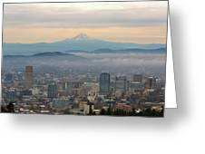 Mount Hood Over Portland Downtown Cityscape Greeting Card