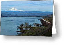 Mount Hood With Train Greeting Card