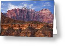 Mount Kinesava In Zion National Park Greeting Card by Utah Images