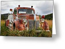 Old Fire Truck In The Mountains Greeting Card