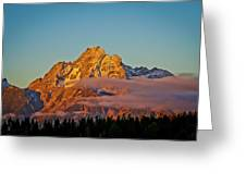 Mount Moran Bathed In Sun Greeting Card