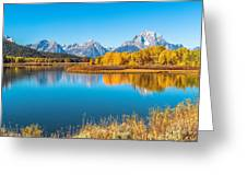 Mount Moran From The Snake River In Autumn Greeting Card