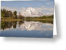 Mount Moran On Oxbow Bend Panorama Greeting Card