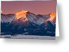 Mount Princeton Moonset At Sunrise Greeting Card