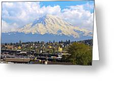 Mount Rainer Over Port Of Tacoma Greeting Card