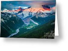 Mount Rainier And White River Greeting Card