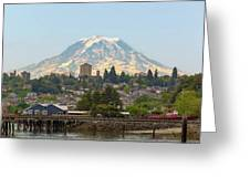 Mount Rainier At Tacoma Waterfront Greeting Card