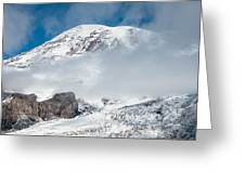 Mount Rainier Behind Clouds 3 Greeting Card