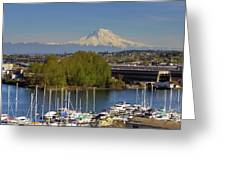 Mount Rainier From Thea Foss Waterway In Tacoma Greeting Card
