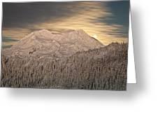 Mount Rainier Full Moonrise Winter Greeting Card by Ed Book