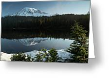 Mount Rainier Reflection Lake W/ Tree Greeting Card
