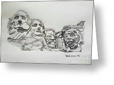 Mount Rushmore Graphite Pencil Sketch Greeting Card