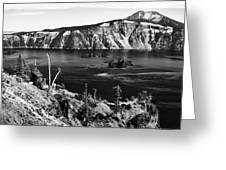 Mount Scott Behind Crater Lake B W Greeting Card