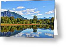 Mount Si Overlooks Mill Pond Greeting Card