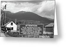 Mount Washington Nh Warning Sign Black And White Greeting Card