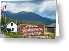 Mount Washington Nh Warning Sign Greeting Card