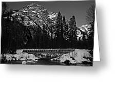 Mountain And Bridge Black And White Greeting Card