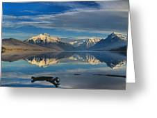 Mountain And Driftwood Reflections Greeting Card