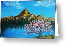 Mountain And Pink Tree Greeting Card