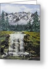 Mountain And Waterfall  Greeting Card