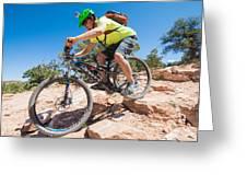 Mountain Biker On The Porcupine Rim Trail Near Moab Greeting Card