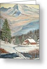 Mountain Cabin Greeting Card