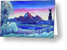 Mountain Dreams Meow Greeting Card