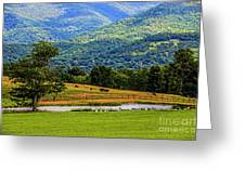 Mountain Farm With Pond Greeting Card