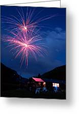 Mountain Fireworks Landscape Greeting Card