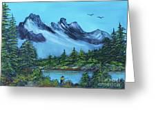 Mountain Fishing Lake Greeting Card