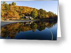 Mountain Lake Beach With Fall Color Reflections Greeting Card