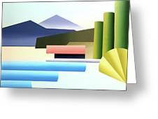 Mountain Lake Dock Abstract Acrylic Painting Greeting Card