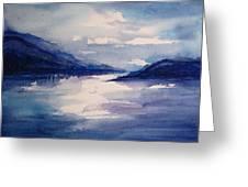 Mountain Lake In Blue Greeting Card