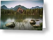 Mountain Lake Under Peaks Greeting Card