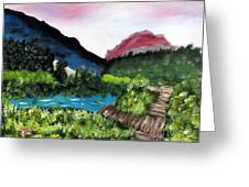 Mountain Lake Walk Greeting Card