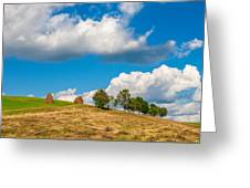 Mountain Landscape With Haystacks And Trees On Top Of Hill Greeting Card