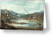 Mountain Landscape With Indians Greeting Card by John Mix Stanley